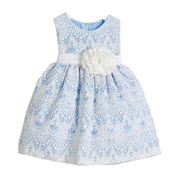 35fc860cd643 Shop Sweet Kids Baby Girls Light Blue Vintage Lace Overlay Flower Girl  Dress 6-24M - Free Shipping On Orders Over  45 - Overstock - 21158175