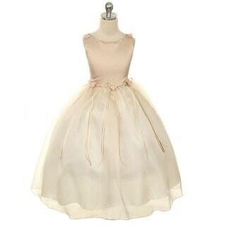 Kids Dream Little Girls Champagne Rosebud Organza Flower Girl Dress 2-6
