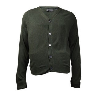 Weatherproof Men's Soft Touch Cardigan Sweater (Green Heather, L) - L
