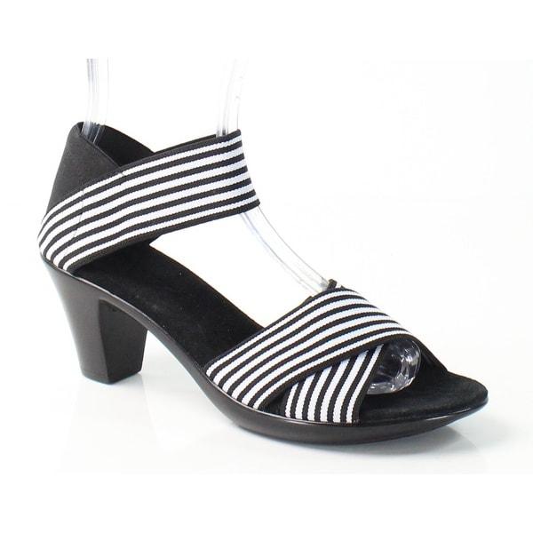Vivanz NEW Black Pippa Shoes Size 7M Stripe Strappy Sandals