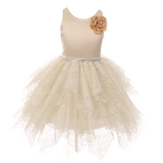 Kiki Kids Girls Champagne Lozenge Cut Junior Bridesmaid Dress