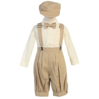 Little Boys Khaki Suspenders Short Pants Hat Easter Outfit Set 2-4T
