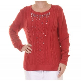 Grace Elements Embellished Cable Knit Long Sleeve Sweater - L