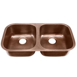 Copper kitchen sinks for less overstock signature copper bdc 5050bk amalfi drop in undermount hand hammered double bowl copper kitchen workwithnaturefo