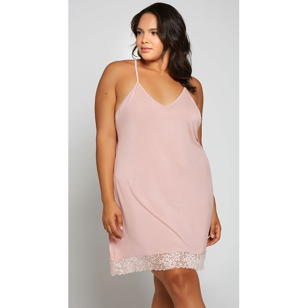 Plus Size Catching Feelings Chemise - Pink - 1X. Opens flyout.