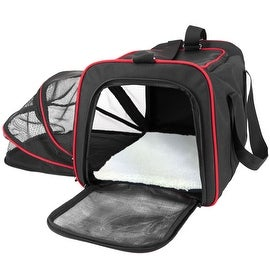 Frontpet Expandable Pet Carrier With Padded Fleece Insert. Airline Approved Spacious Comfortable Durable Soft Sided Carrier