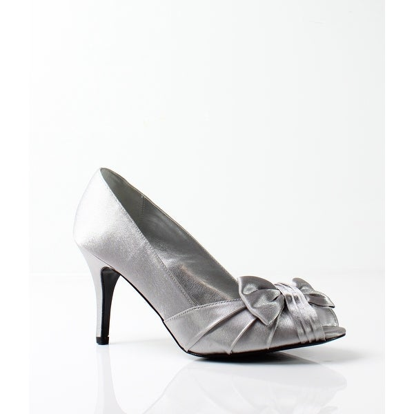Nina NEW Silver Women's Shoes Size 5.5M Forbes Satin Open Toe Pump