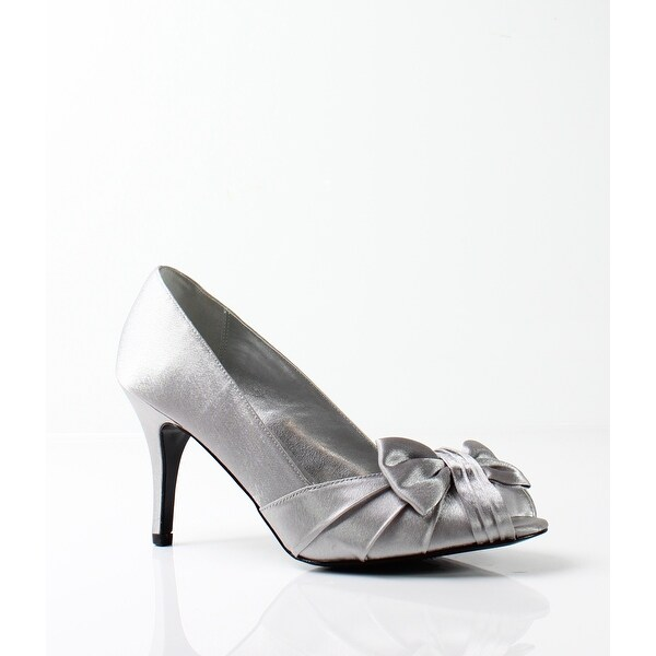 Nina NEW Silver Women's Shoes Size 5M Forbes Satin Open Toe Pump