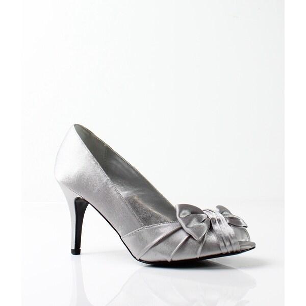 Nina NEW Silver Women's Shoes Size 6W Forbes Open Toe Pump