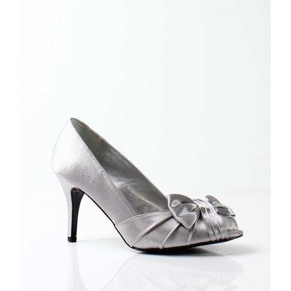 Nina NEW Silver Women's Shoes Size 6W Forbes Satin Open Toe Pump