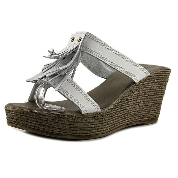 Azura Faves Women Open Toe Leather White Wedge Sandal