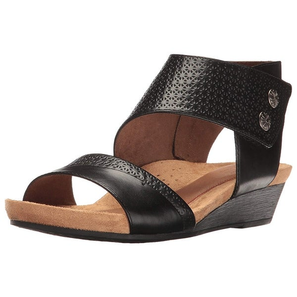 Cobb Hill Womens Hollywood 2 Piece Cuff Leather Open Toe Casual Platform Sand...