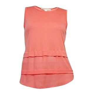 Michael Kors Women's Sleeveless Scoop-Neck Top (Caribbean Pink, XL) - caribbean pink