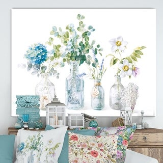 Designart 'RW Beach Flowers I' Cottage Canvas Wall Art