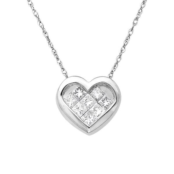 1/3 ct Diamond Heart Pendant in 14K White Gold