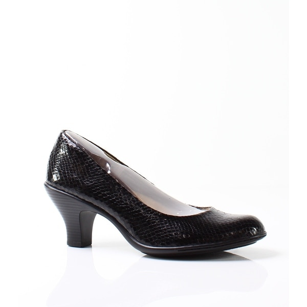Softspots NEW Black Salude Shoes Size 8N Snake Patent Pumps Heels