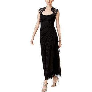 X by Xscape Womens Petites Evening Dress Lace Trim Glitter