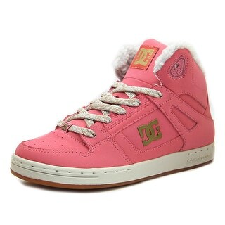 DC Shoes Rebound High Youth Round Toe Leather Pink Skate Shoe