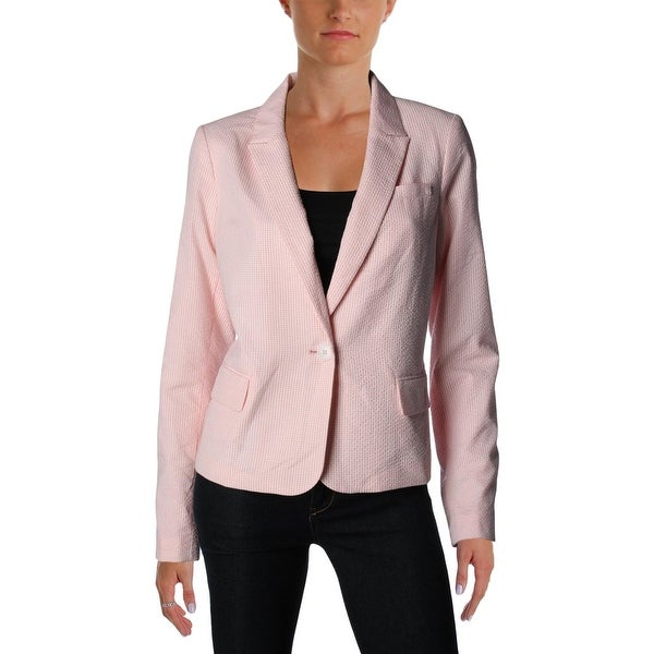 460f1e36493c7e Shop Tommy Hilfiger Womens One-Button Blazer Seersucker Long Sleeves ...