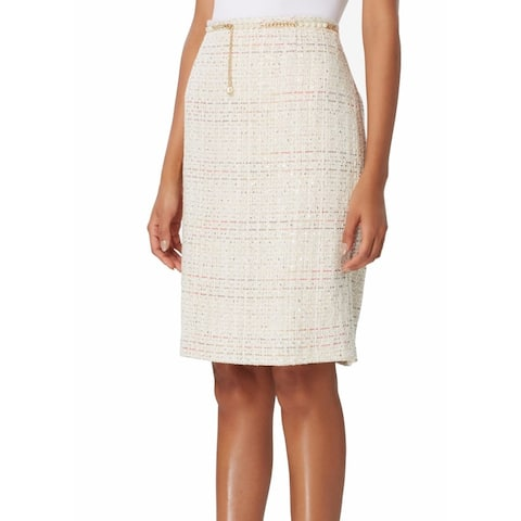 Tahari Women's Skirt Beige Size 10P Petite Straight Pencil Sequin