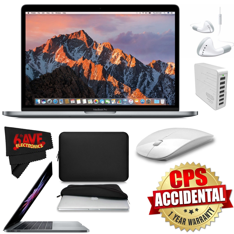 Apple 13.3 MacBook Pro Mid 2017, Silver + 2.4 GHz Slim Optical Wireless Bluetooth + 7 Port USB Hub White Bundle