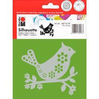 "Bird With Flower - Marabu Silhouette Stencils 6""X6"""