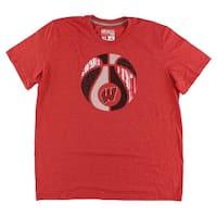 Adidas Mens Wisconsin Hardwood T Shirt Red - Red/White/Black - xL