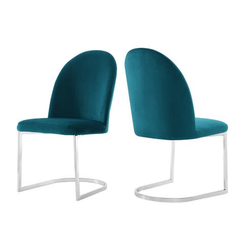 Strick & Bolton Kyle Teal Velvet Dining Side Chair - Set of 2