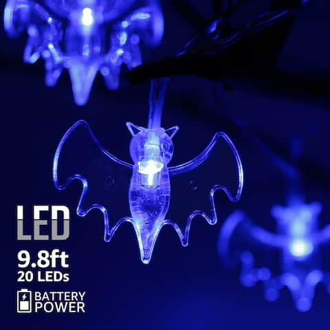 Halloween Copper Wire String Lights, Bat Pendants, 8 Modes