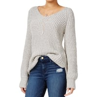 Sanctuary Womens Sequoia Tunic Sweater V-Neck Marled