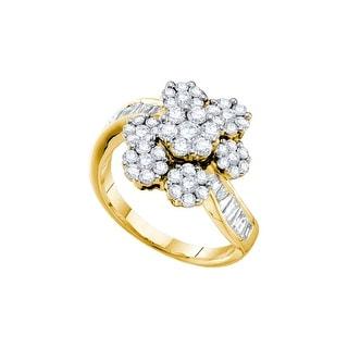 1 3/4Ct Diamond Flower Ring Yellow-Gold 14K
