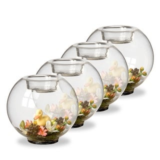 Set of Four Duckling Glass Candleholders - N/A