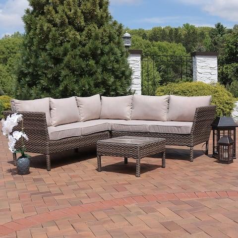 Sunnydaze Avel 4-Piece Sofa Sectional Patio Furniture Set with Taupe Cushions - Tan
