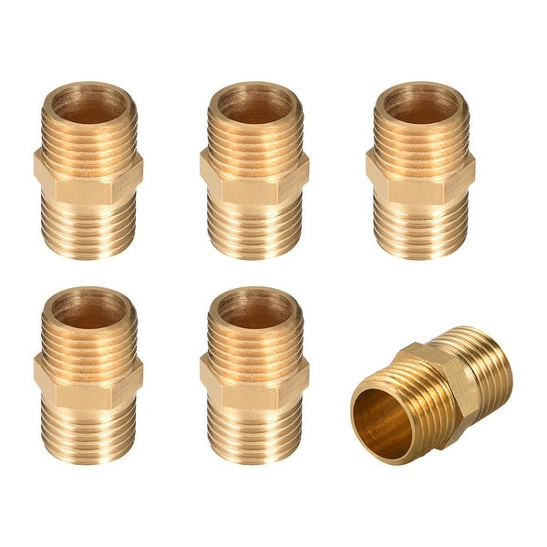 "Brass Pipe Fitting,Hex Nipple, 1/4"" x 1/4"" G Male Thread Pipe Brass Fitting 6pcs - 1/4"" G Male 6pcs"