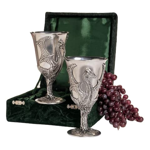 Design Toscano Dragon Pewter Goblets: Set of Two with Gift Box