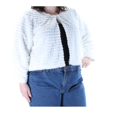 CALVIN KLEIN Womens White Faux Fur Long Sleeve Open Top Plus Size: 2X