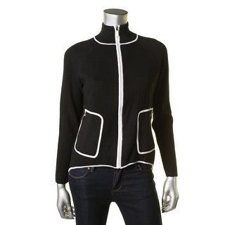 Lauren Ralph Lauren Womens Contrast Trim Zip Front Cardigan Sweater
