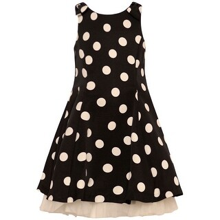 Rare Editions Little Girls Black White Polka Dotted Pattern Dress 2T/2-6X