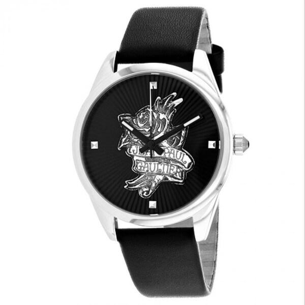 Jean Paul Gaultier Women's 8502412 'Navy Tatoo' Black Leather Watch. Opens flyout.