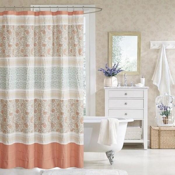 Shop Madison Park Dawn Cotton Shower Curtain Coral