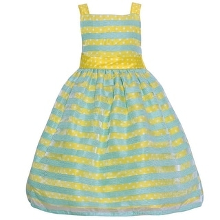 Mia Juliana Little Girls Yellow Green Polka Dot Stripe Easter Dress