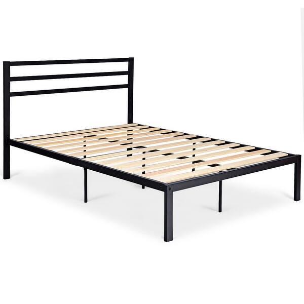 Metal Bed Frame Platform Wooden Slat