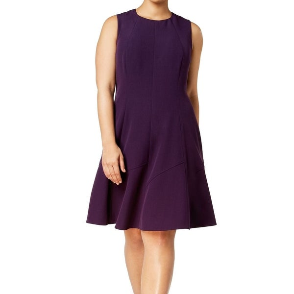 Anne Klein Purple Womens Size 14W Plus Fit N Flare A-Line Dress