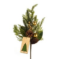 """Set of 12 Green and Brown Christmas Tree Tag Artificial Spray with Birth Stone Ornaments 18"""""""