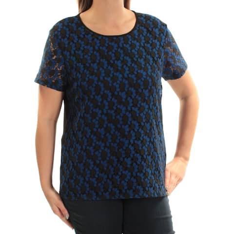 TOMMY HILFIGER Womens Blue Lace Short Sleeve Jewel Neck Top Size: L