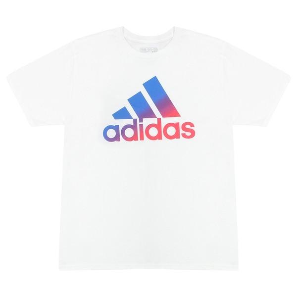 483852a523f08 Shop Adidas Fading Blue Purple Pink Performance Logo Men's White T ...