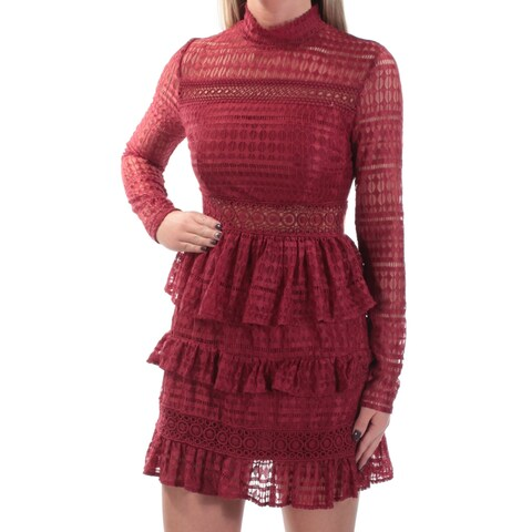 Womens Maroon Long Sleeve Mini Sheath Casual Dress Size: XS