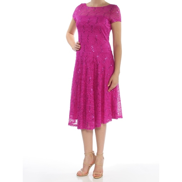 Shop Sangria Womens Purple Sequined Lace Short Sleeve