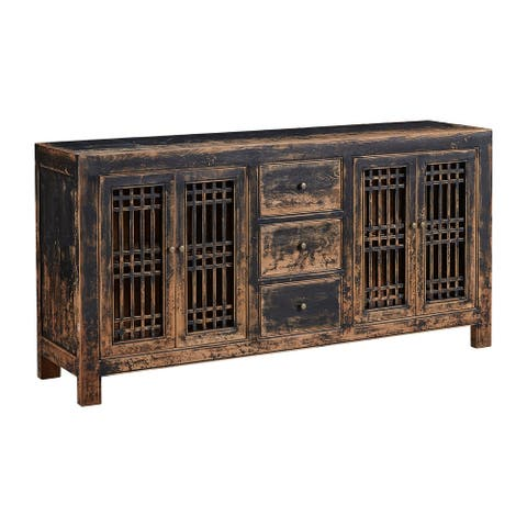 Norris 71-inch Antique Pine Sideboard with Lattice Doors, Rubbed Black