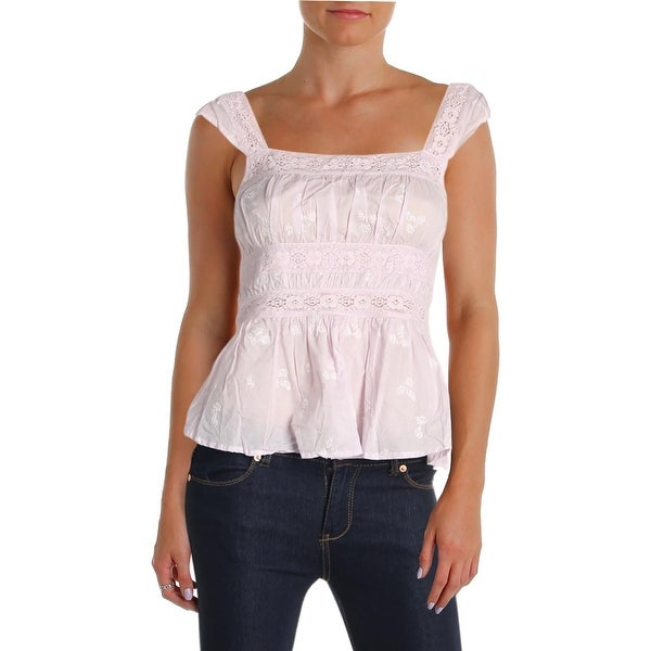 bafa504291f Shop Free People Womens Fleurs Tank Top Floral Embroidered - M - Free  Shipping Today - Overstock - 26053659